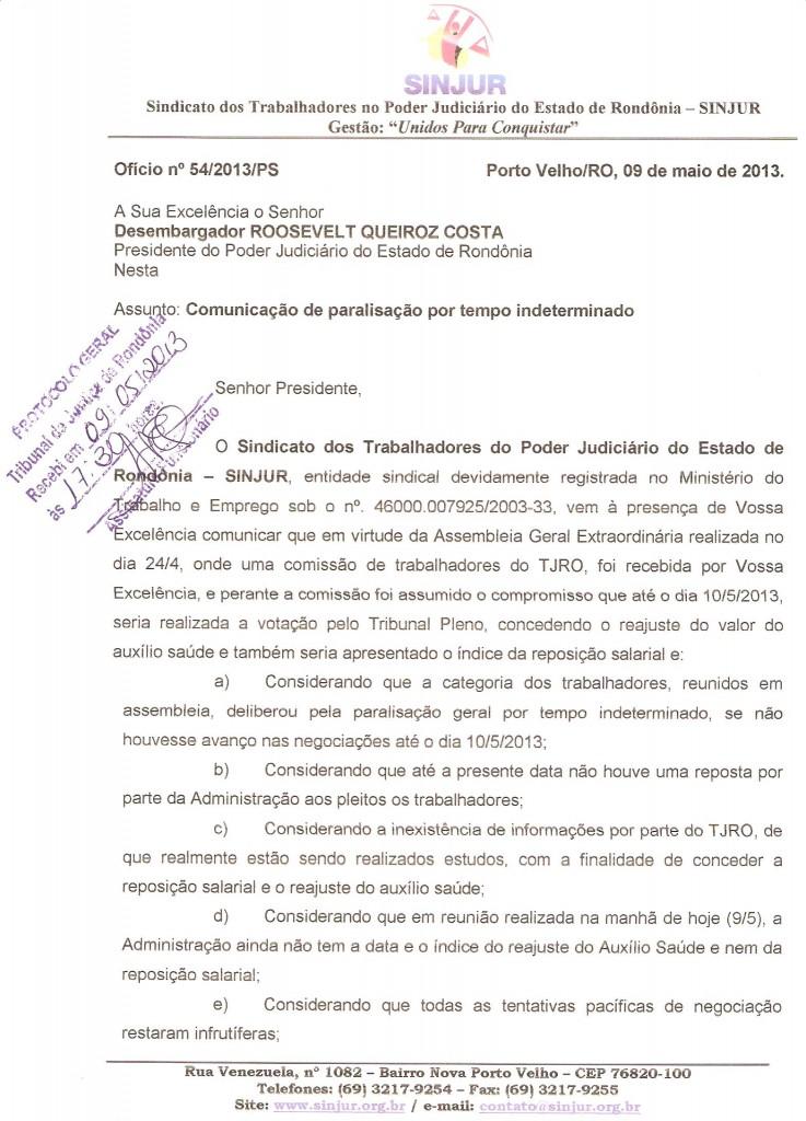 Comunicação de Greve - Ofício n. 54/2013/PS - Página 01