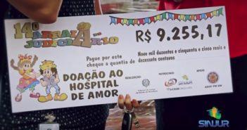 Entrega de alimentos e dos cheques simbólicos ao Hospital de Amor da Amazônia
